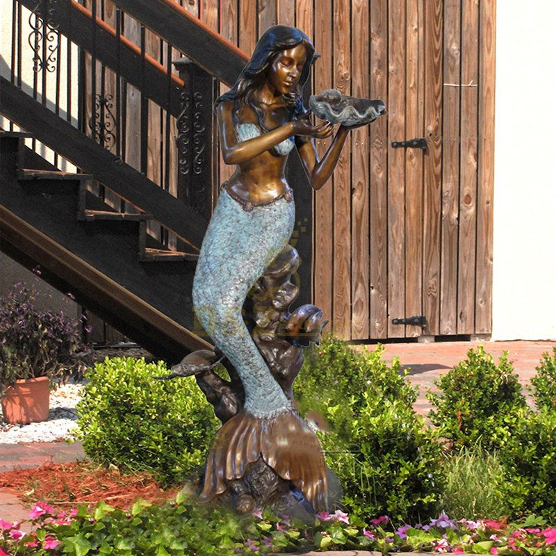 Life Size sea metal foundry bronze female mermaid fountain sculpture