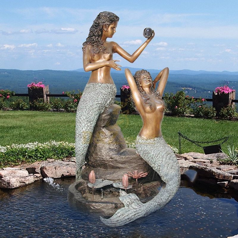 Life Size Bronze Mermaid Sitting Water Statue Fountain Outdoor Copper Woman Sculpture