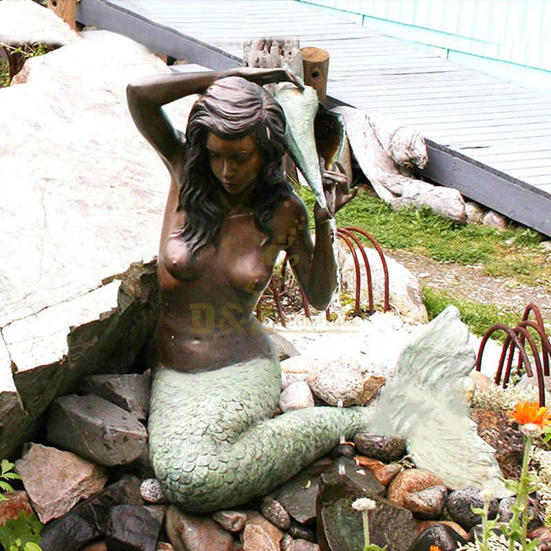 western style casting garden fountain green metal bronze mermaid sculpture