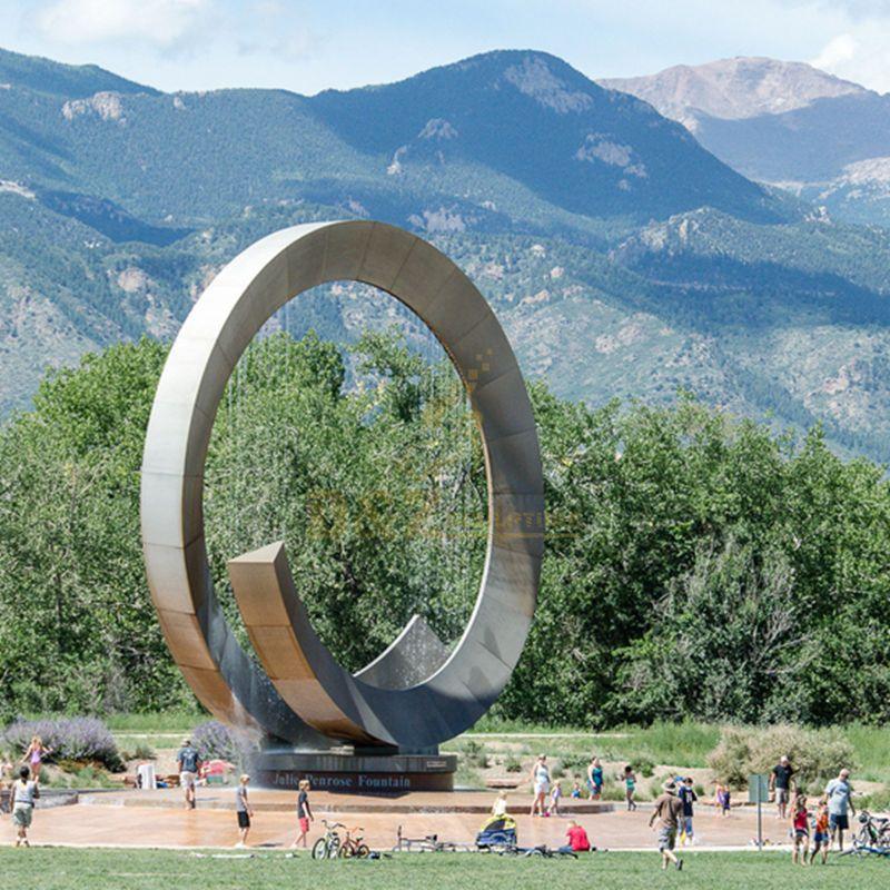 304 Garden Stainless Steel Circle Fountain Sculpture