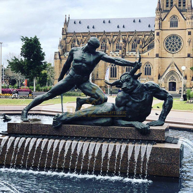 Life size hero Theseus figuts legendary beast bronze statue for sale