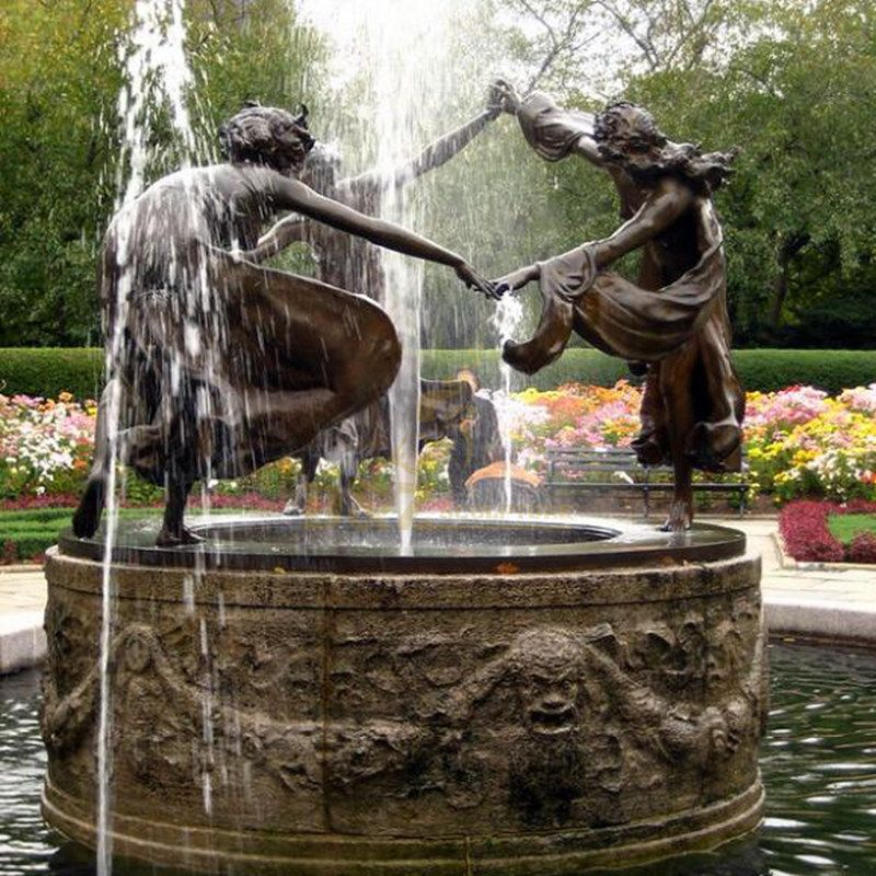 large size garden decoration Three Dancing Maidens bronze statue fountain