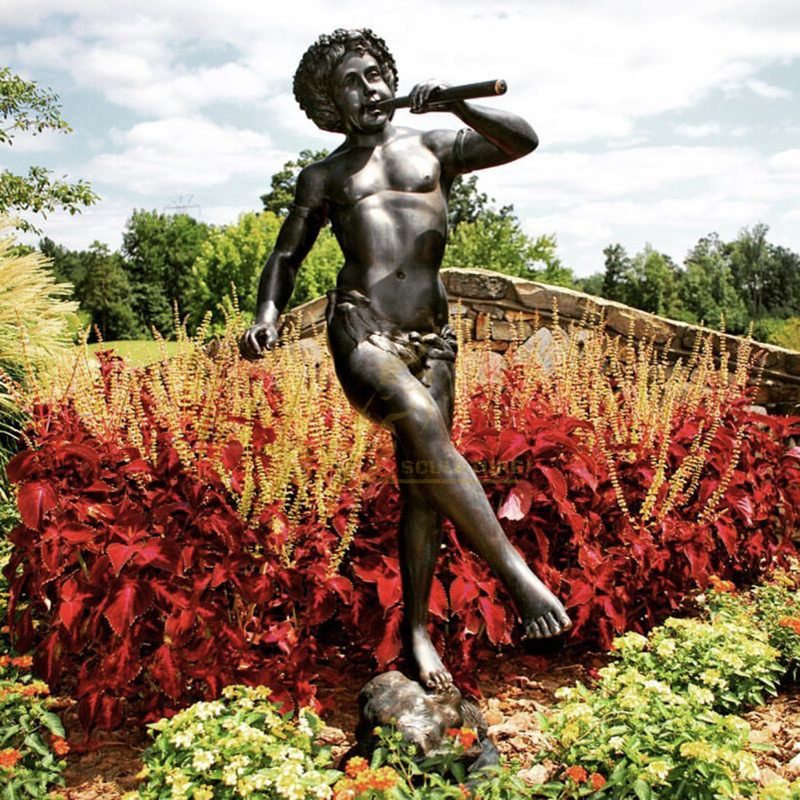 Boy Playing Flute Bronze Garden Statue Fountain