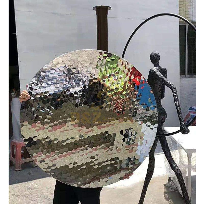 Round Circle Mirror Stainless Steel Modern Sculpture