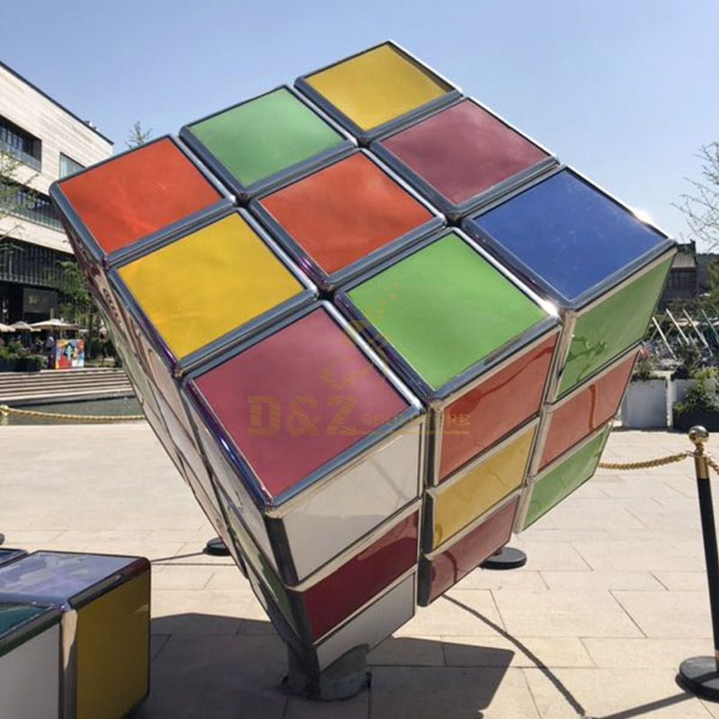 Durable Shining Customized Outdoor Metal Decorative Colorful Rubik's Cube Sculpture