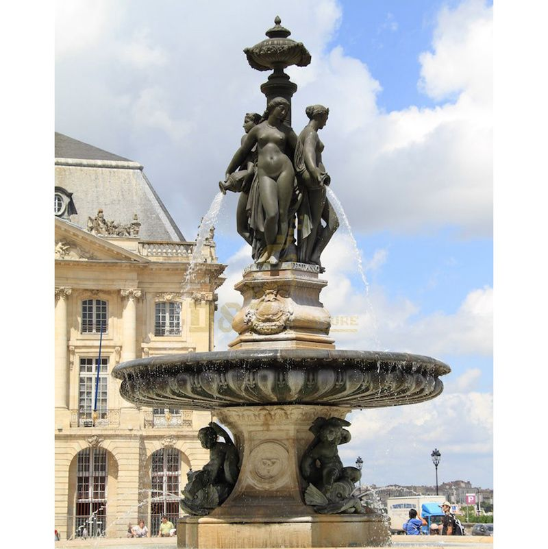 Modern garden big large cast bronze water fountain with lady statue sculpture