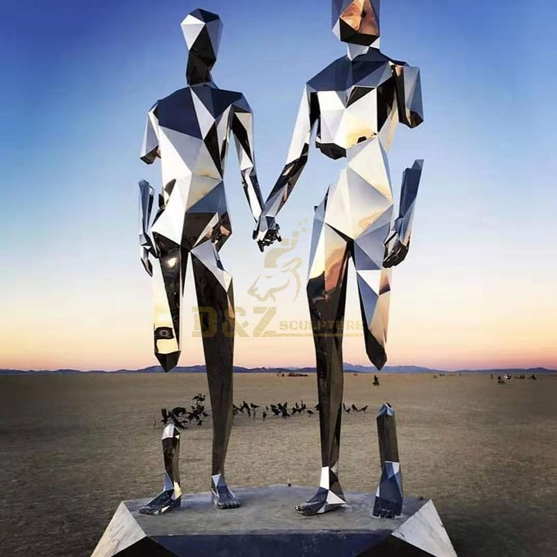 Outdoor Polished Stainless Steel Mosaic Couple Character Sculpture