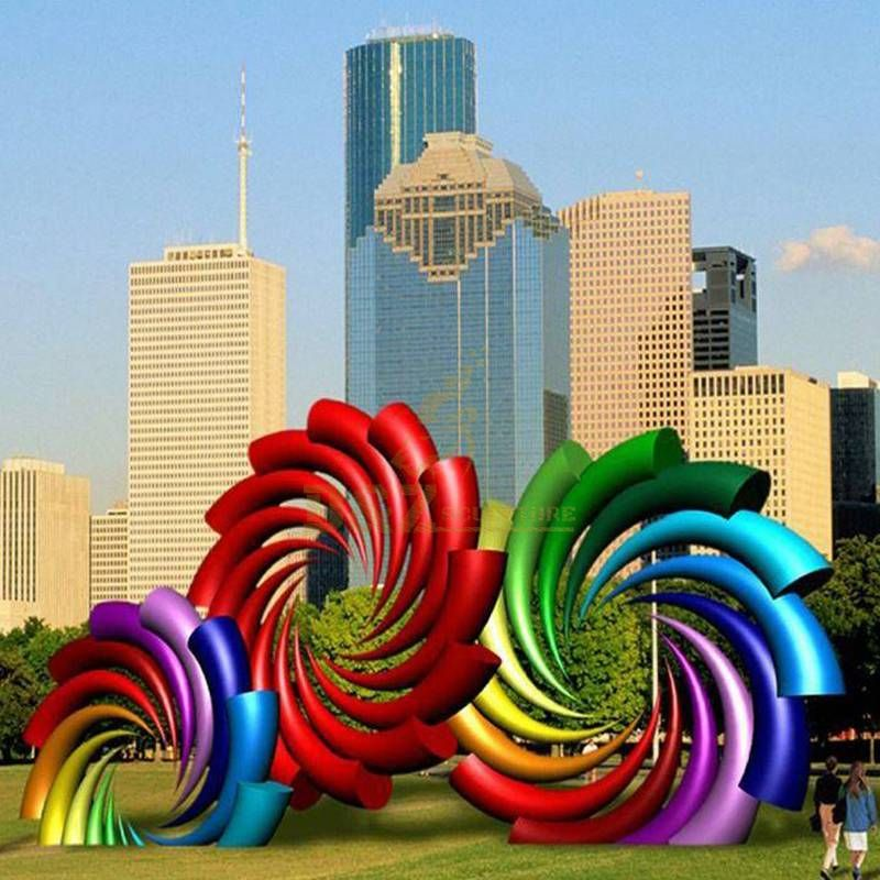 Large Color Spiral Stainless Steel Sculpture
