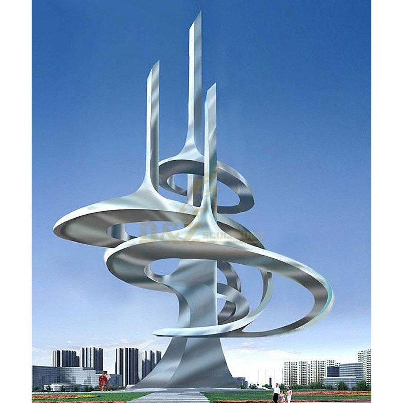 Outdoor Square Abstract Stainless Steel Metal Sculpture