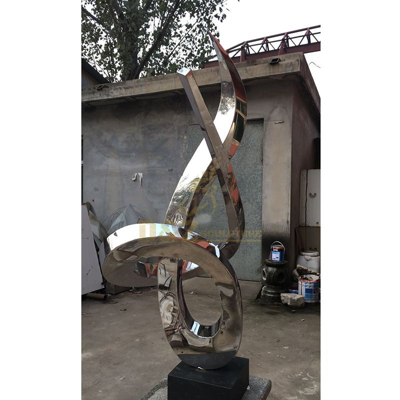 Modern Polished Mirror Stainless Steel Outdoor Sculpture