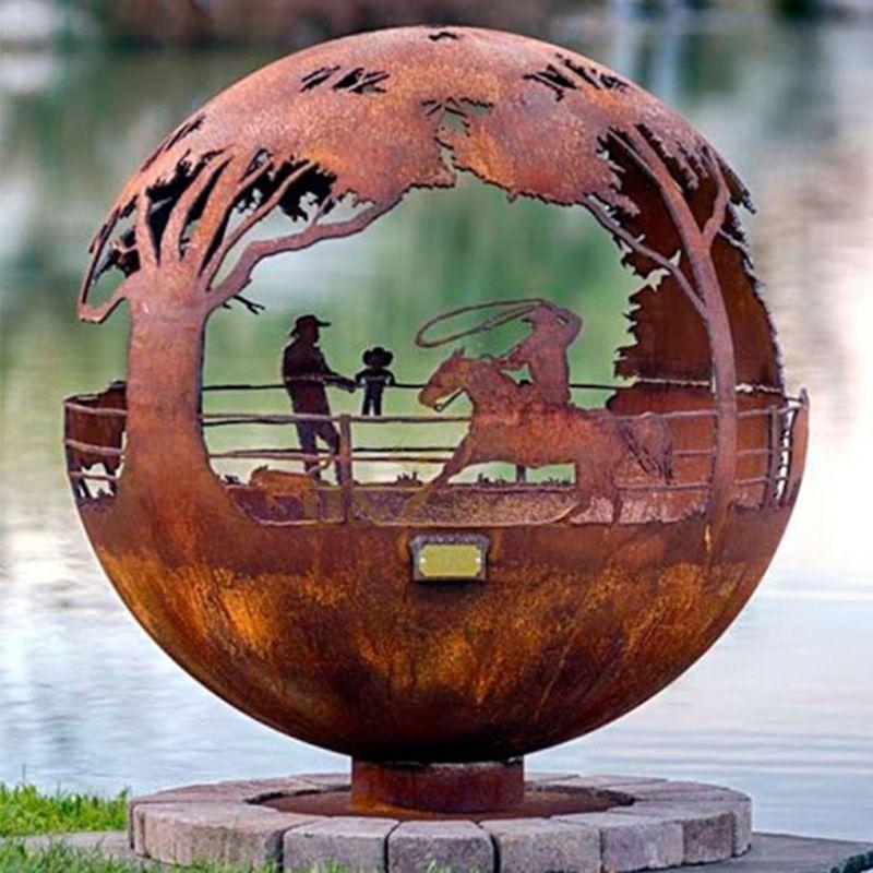 Large Corten Steel Ball Sculpture Landscape Hollowed Statue