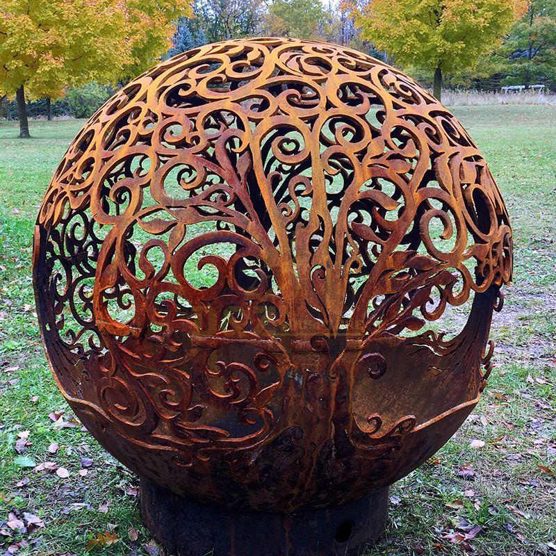 Large Size Hollow Modern Corten Steel Ball Sculpture