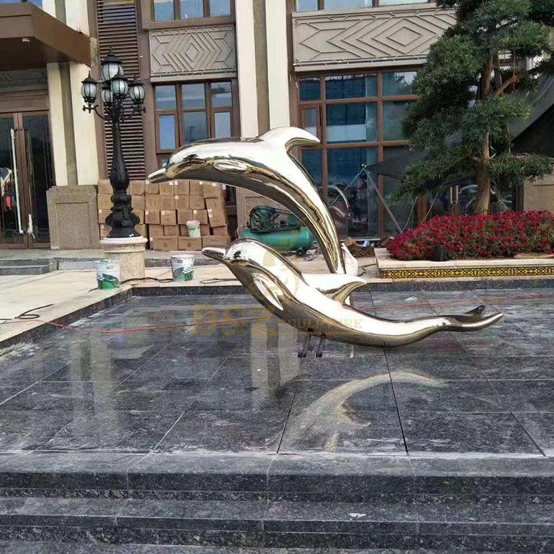 Custom Outdoor Dolphin Stainless Steel Sculpture