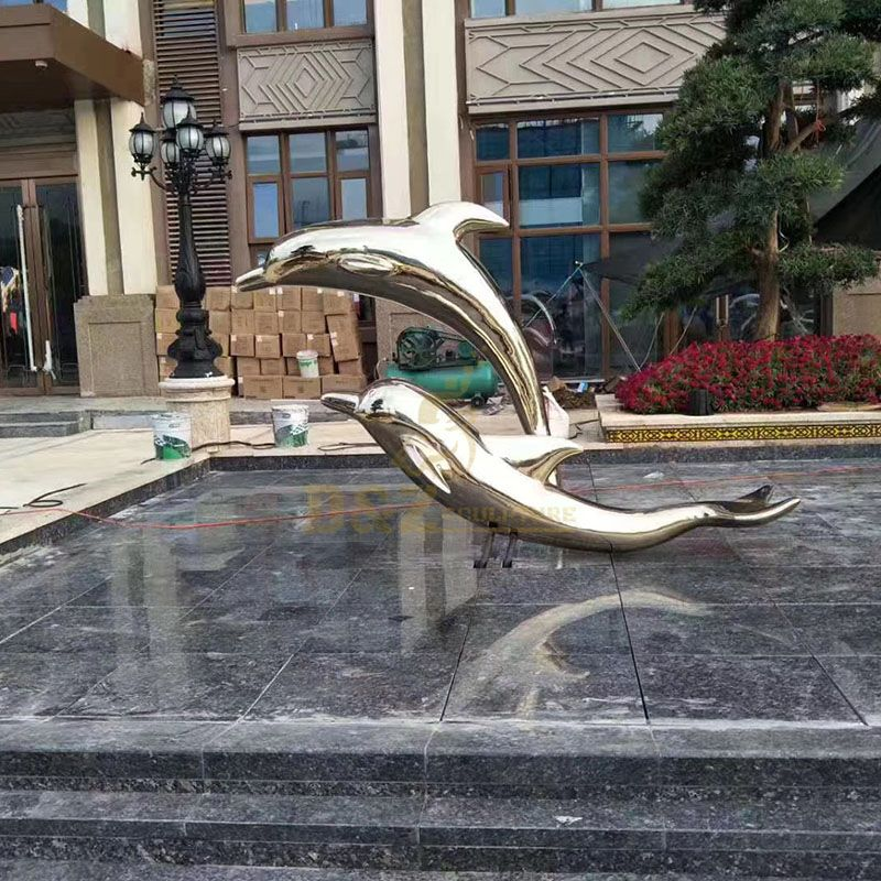 Custom Outdoor Dolphin Stainless Steel Sculpture
