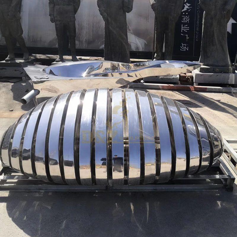 Stainless Steel Mirror Cut Stone Seat Sculpture
