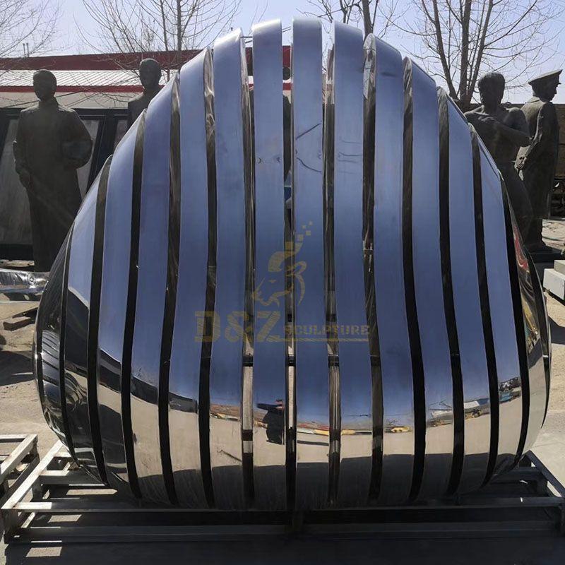 Modern Garden Mirror polishing Stone Shape Abstract Stainless Steel Sculpture