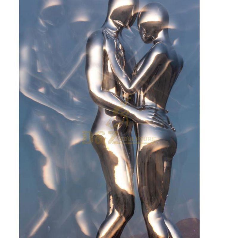 Modern Hug Couple Figure Stainless Steel Statues