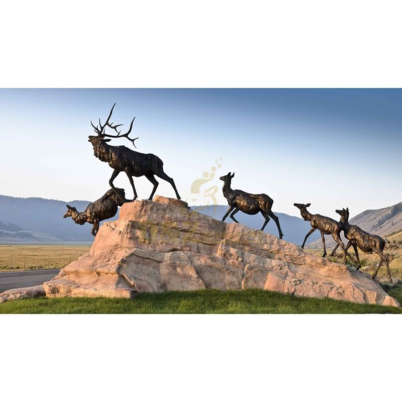 Outdoor Bronze Realistic Antelope Group Metal Sculpture