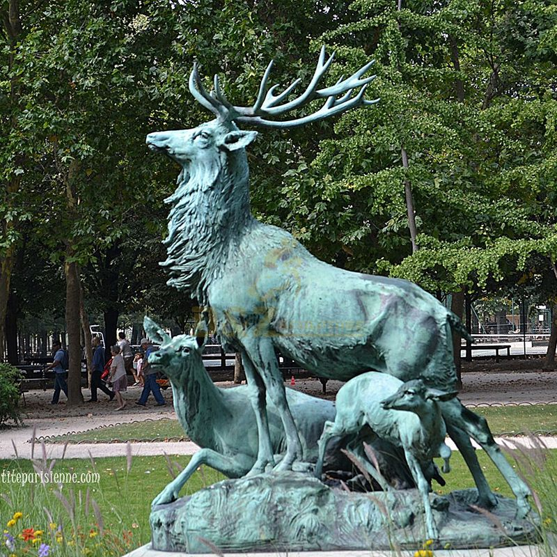 Outdoor Decoration Customized Size Shining Bronze Antelope Sculpture