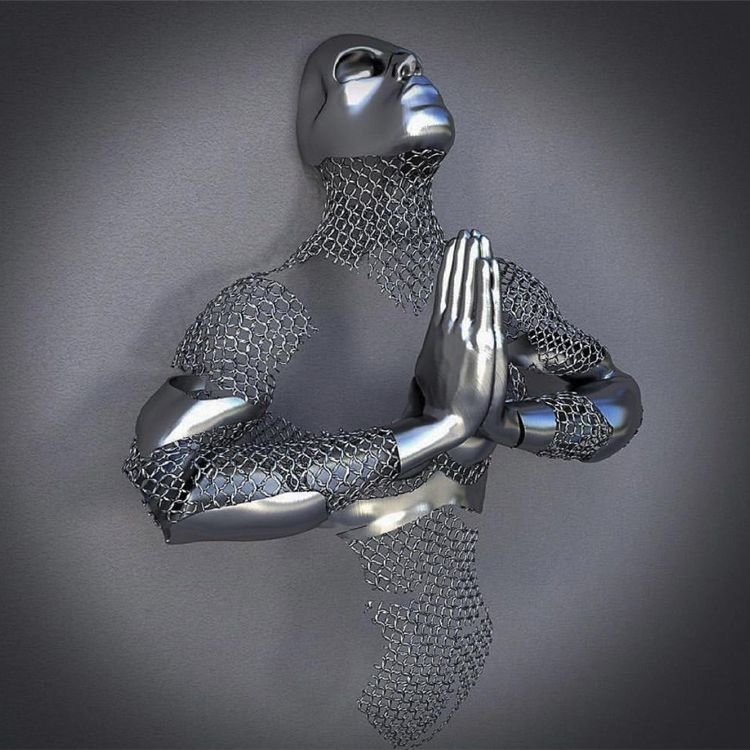 Modern indoor decoration abstract metal human sculpture 3D wall decor figure stainless steel sculpture