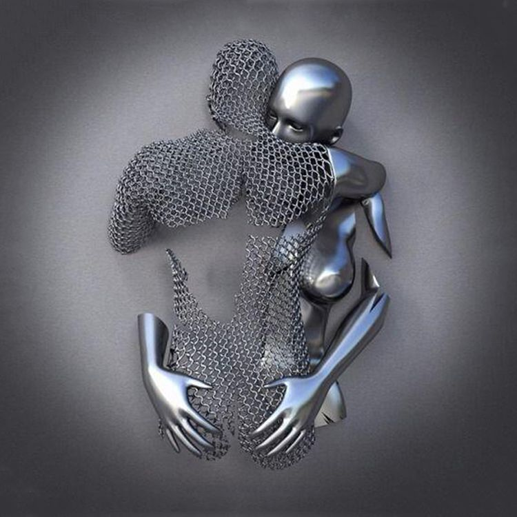 Famous Wall Couple Stainless Steel Love Hug Sculpture