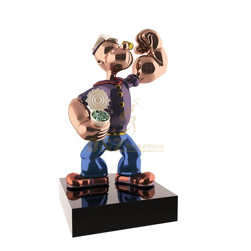 Cartoon Figure Popeye Stainless Steel Chrome Sculpture Statue