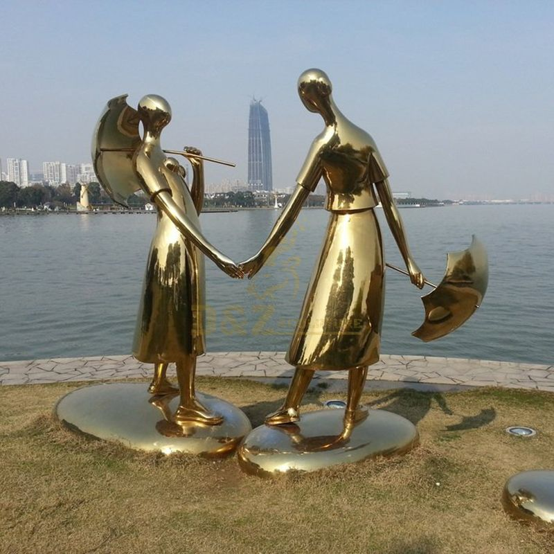 Golden Shiny Stainless Steel Smooth Figure Sculpture