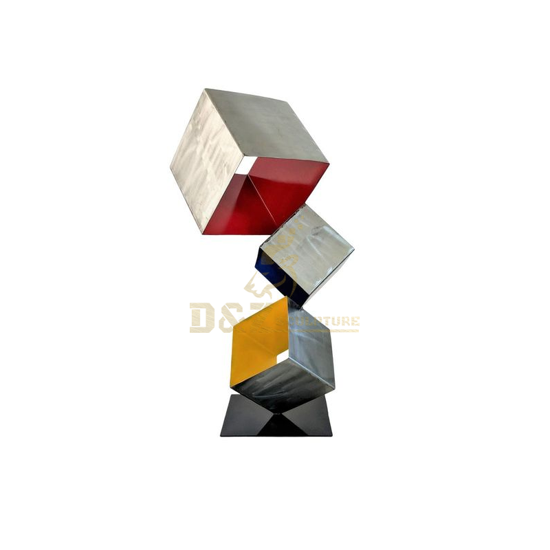 Modern Stainless Steel Outdoor Sculpture Art Metal Geometric Square Statue