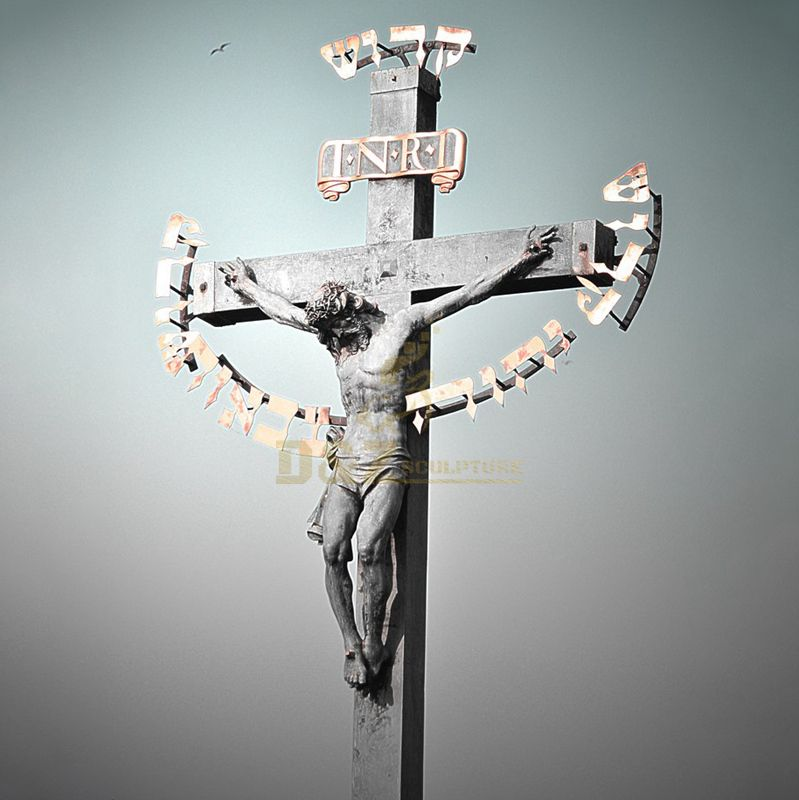 Orthodox Church Metal Cross Lord Jesus Christ Statue
