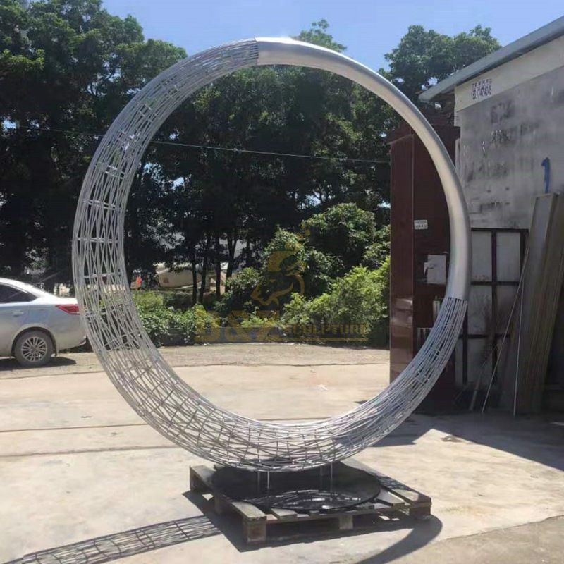 Home decoration metal stainless steel circle design sculpture