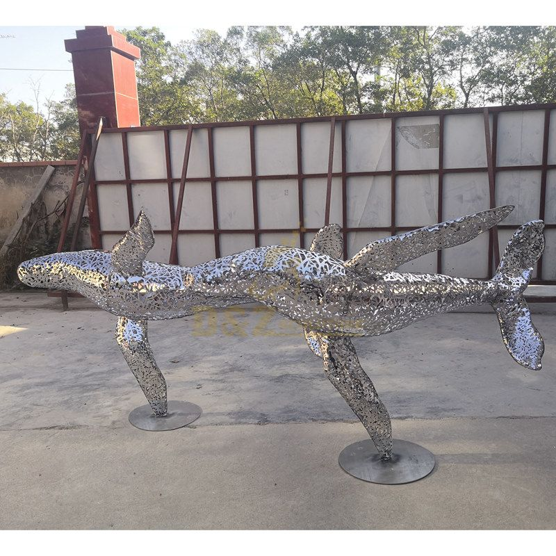 large hollow wire stainless steel dolphin sculpture