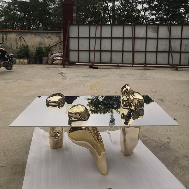 Large Stainless Steel Statues Coffee Table Sculpture