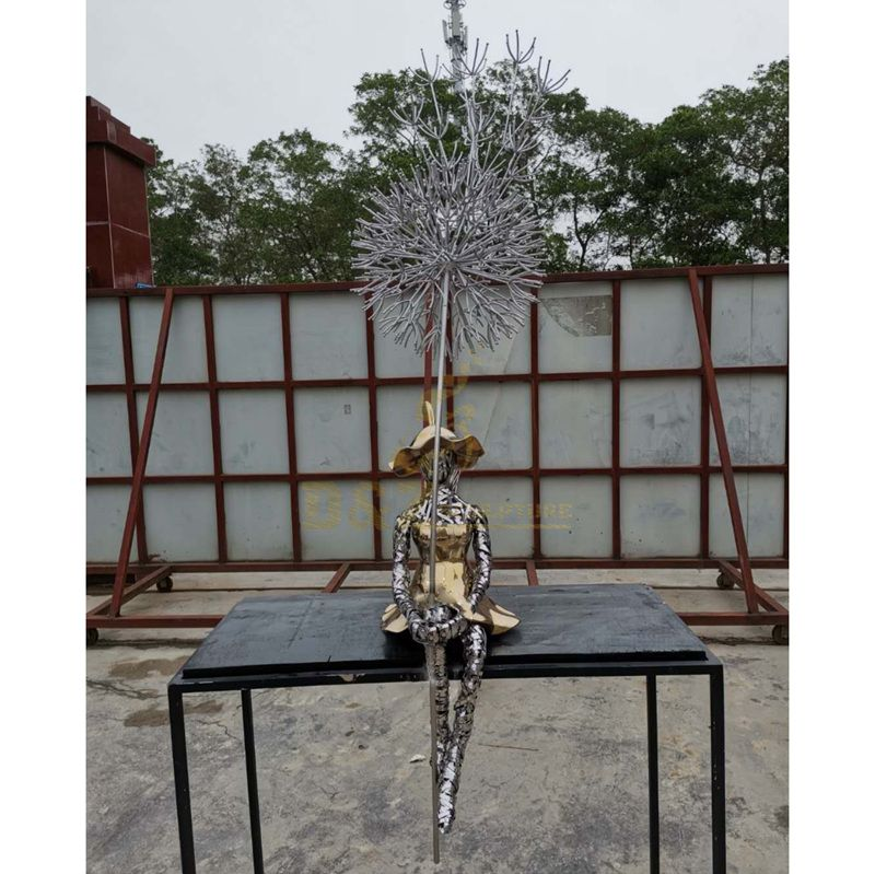 Stainless steel Dandelion sculpture With Girl for Landscape Decoration