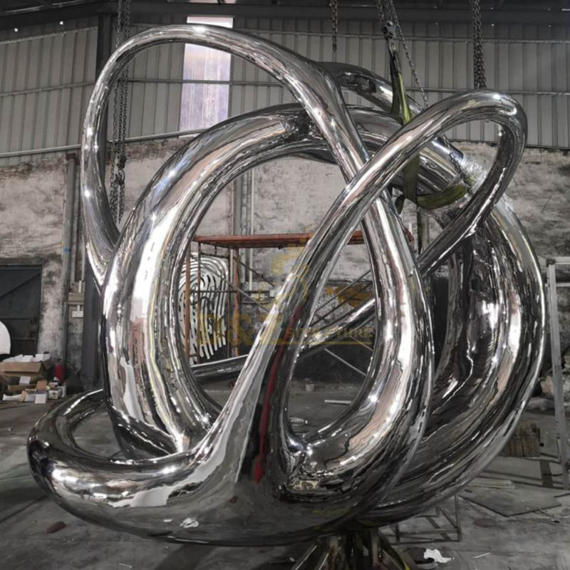 Factory wholesale mirror polished stainless steel garden wire sculpture