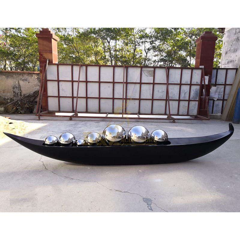 Polished Stainless Steel Modern Garden Ball Sculpture