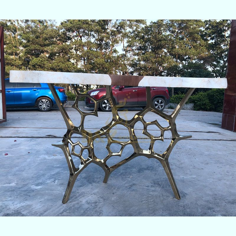 Handicraft mirror polished coffee table stainless steel sculpture