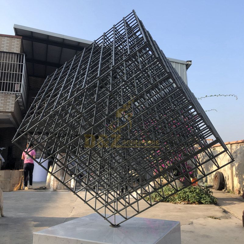 Stainless Steel Hollow Geometric Cube Perforated Sculpture