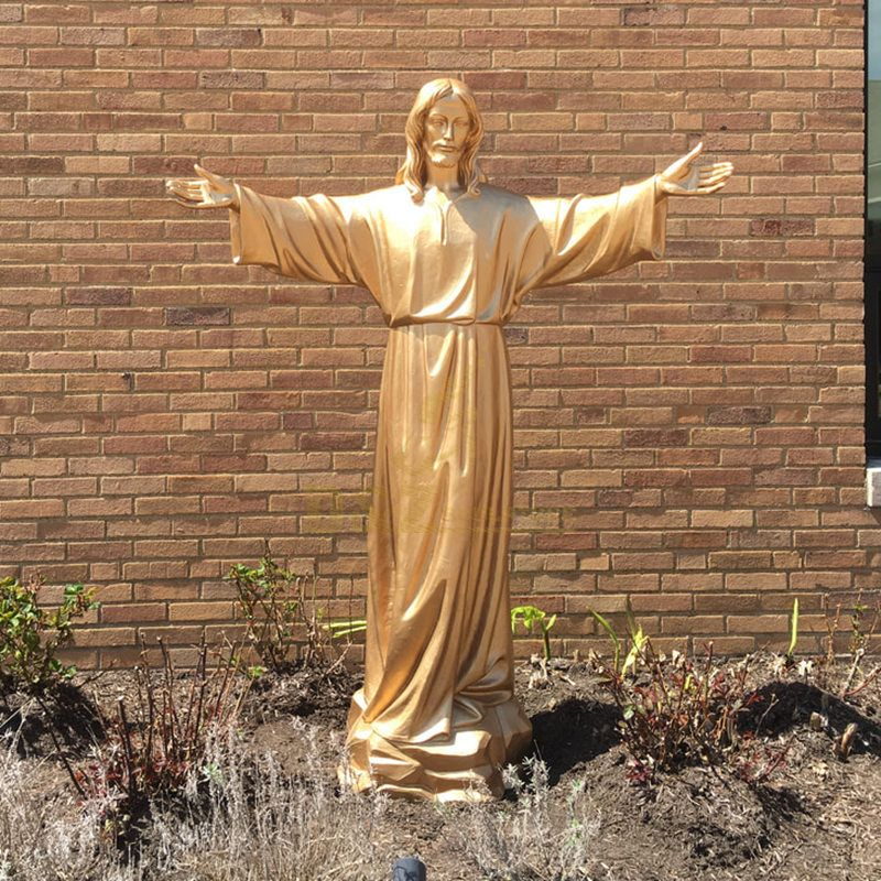 Antique Large Bronze Jesus Statue On The Cross For Home Decoration