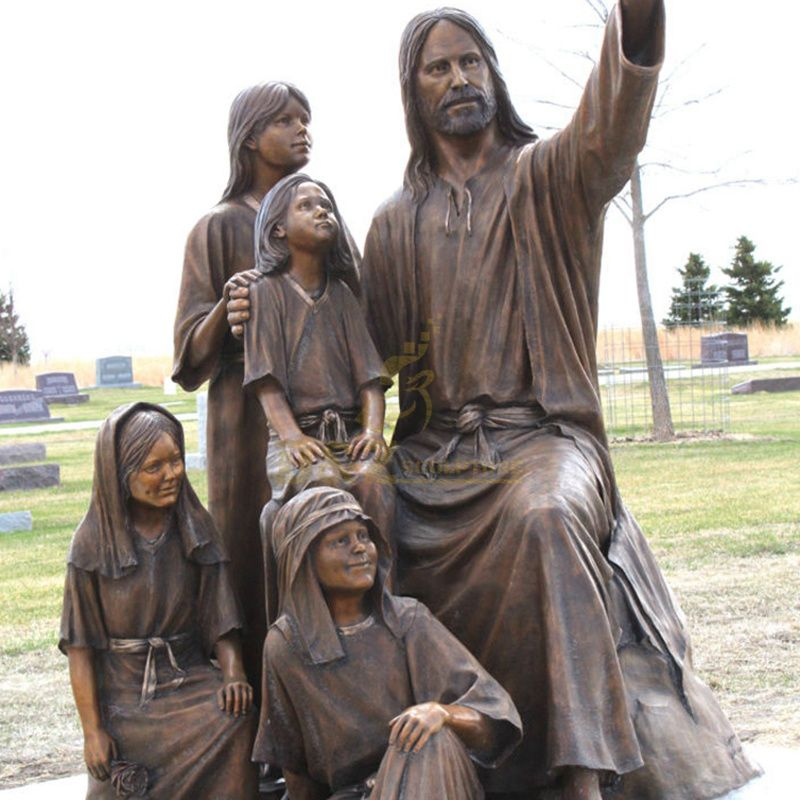 Hot Sale Outdoor Religious Church Decor Bronze Jesus With Little Boy And Girl Sculpture