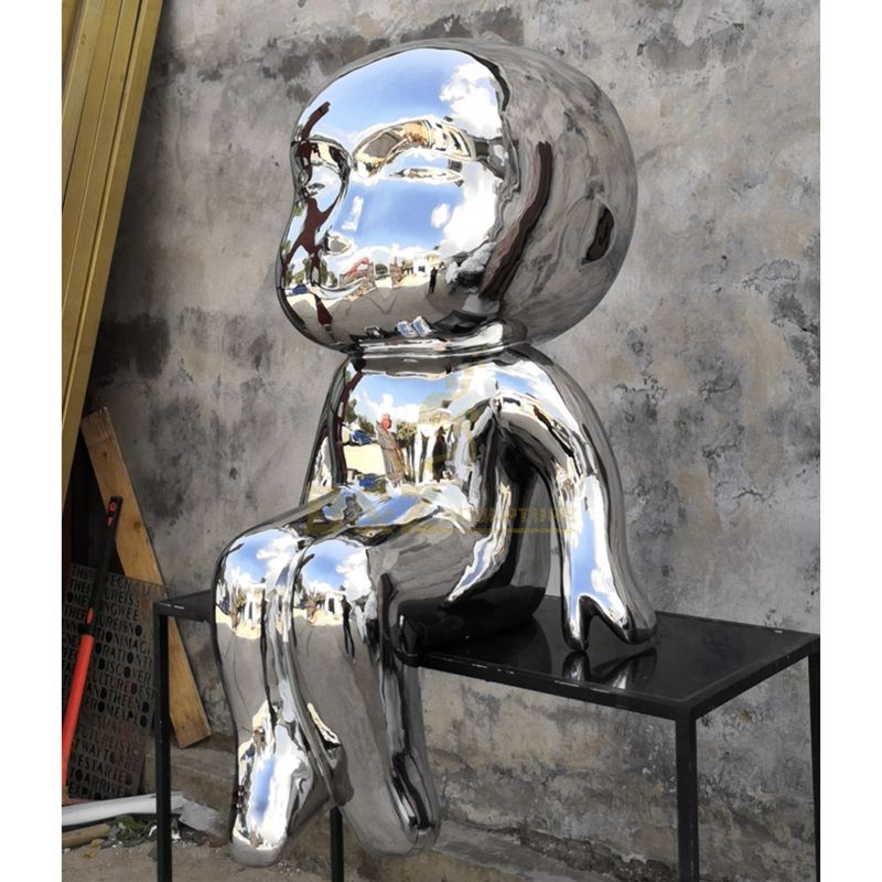 Metal Stainless Steel Large Abstract Fat Child Garden Sculpture