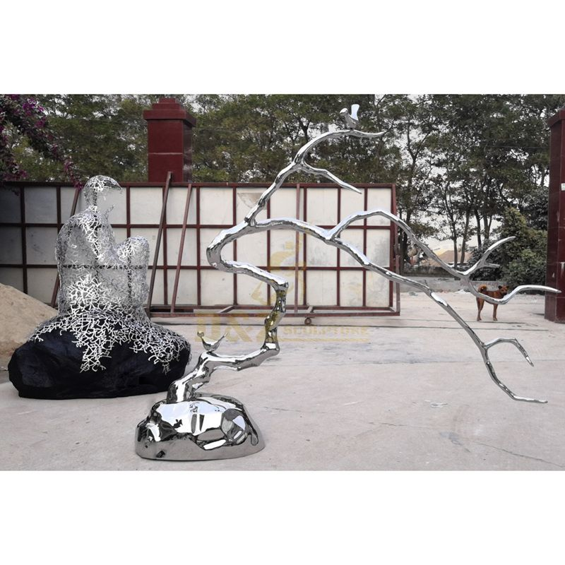 Mirror Polished Stainless Steel Tree Sculpture Ball Sculpture