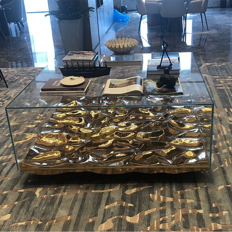 Contemporary stainless steel coffee table sculptures