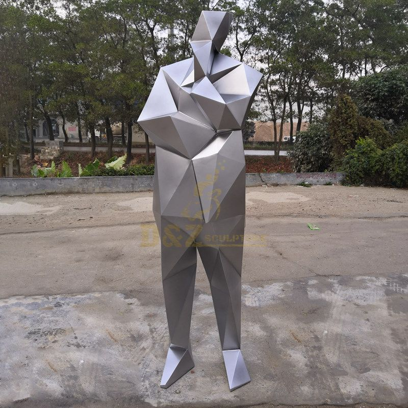 Outdoor life size mosaic stainless steel man sculpture