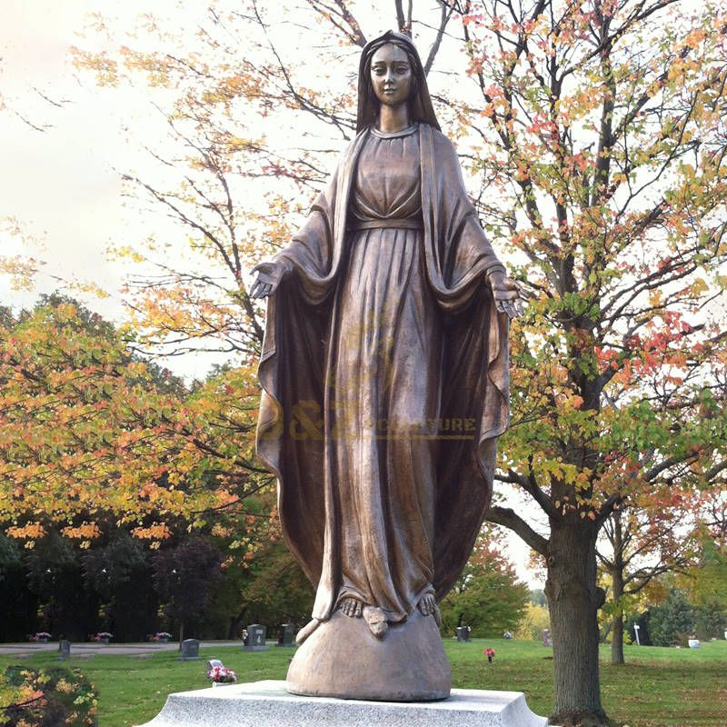 Exquisite Life Size Garden Decoration Mary Bronze Catholic Statue