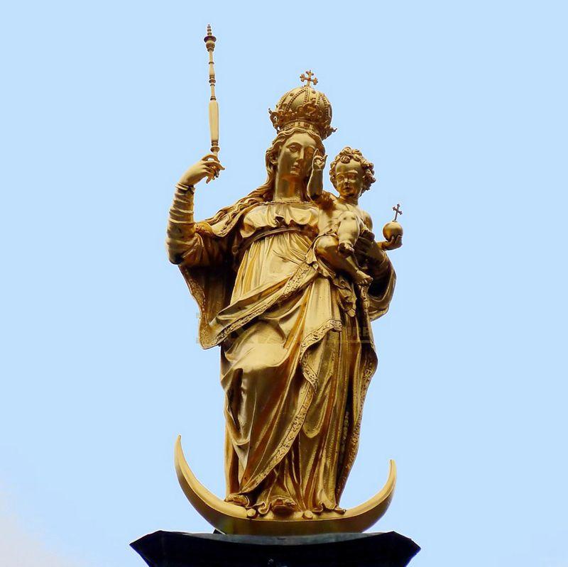 virgin mary, bronze statue