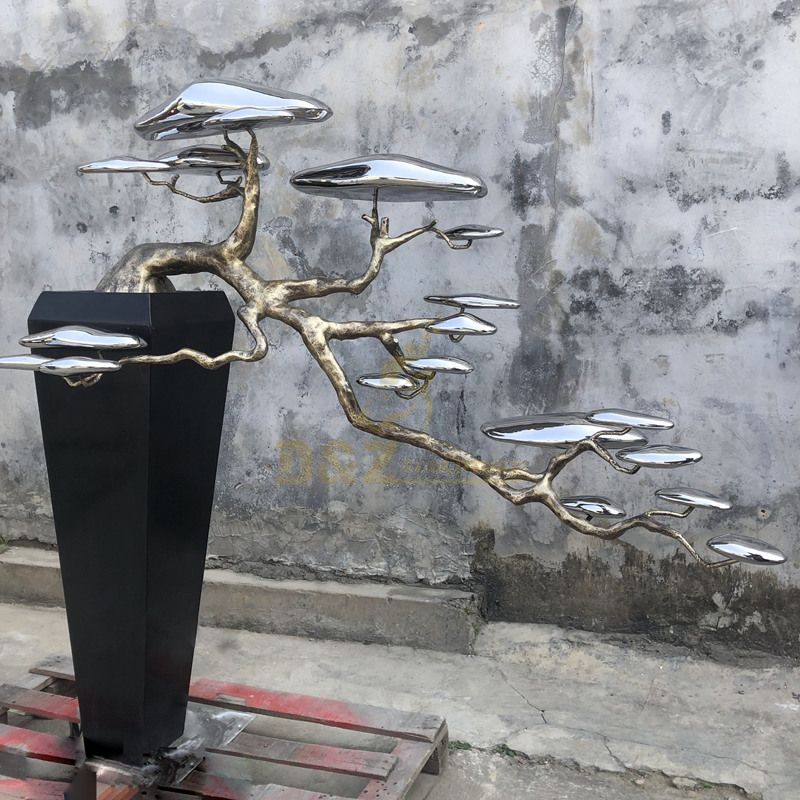 Abstract modern design stainless steel tree sculpture