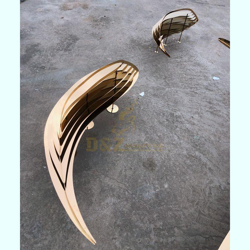 Mirror Stainless Steel Garden Decoration Leaf Sculpture