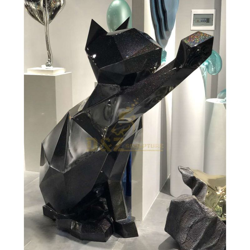 Large stainless steel big cat statues for garden