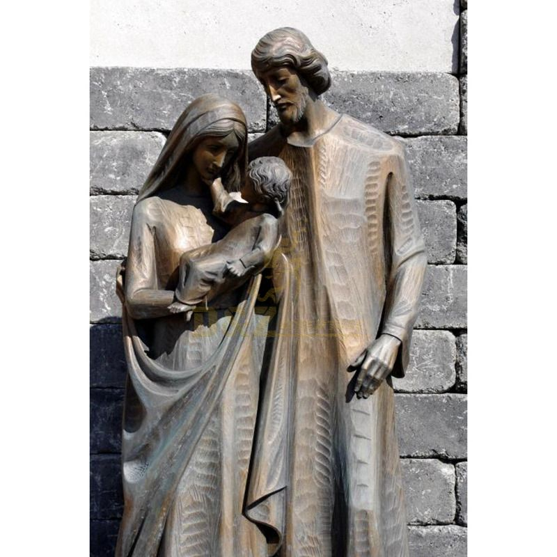 Large Outdoor Religious Bronze Stand Holy Family Statue Praying