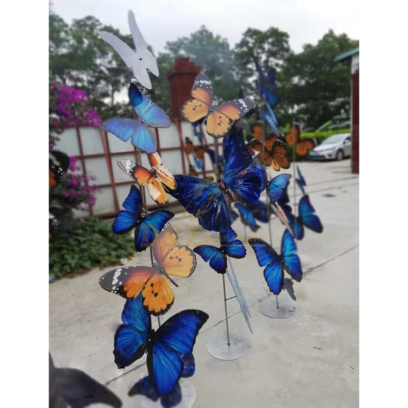 Garden metal craft animal statue stainless steel butterfly sculpture